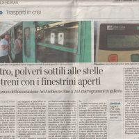 Corriere della Sera: Metro,polveri sottili alle stelle nei treni con finestrini aperti 17/10/2018